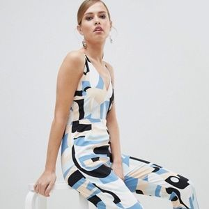 ASOS Lavish Alice Abstract Print Strappy Jumpsuit